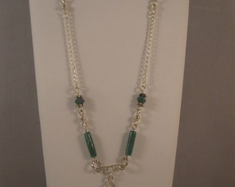 Sterling Silver Long Necklace Green Aventurine Beads