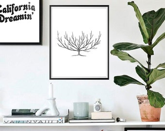 Simple Tree Illustration Print, Wall Art, Black and White, Gallery Wall Art #41