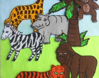 Felt Board Stories Set//Wild Jungle Animals// 10pc.set//Activities for Toddlers