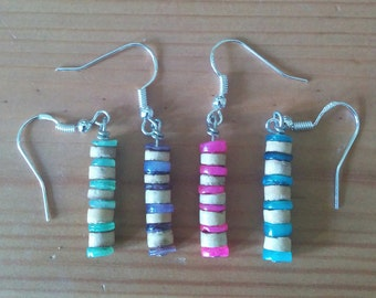 Shell and coconut earrings