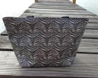 Medium Laminated Canvas Tote - Zebra
