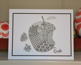Zentangle Apple Notecard - Package of 10