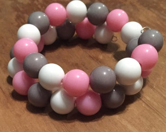 Pink, Gray and White Memory Wire Bracelet with gumball beads