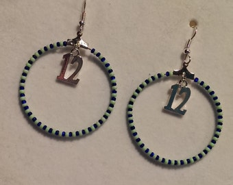 Seahawk 12th woman inspired hoop earrings