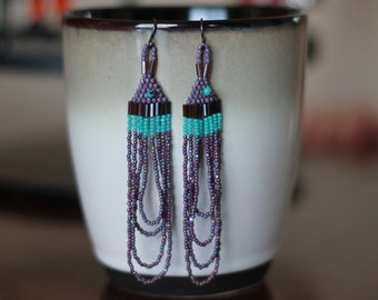 Purple and Lavender Native American Style Earrings