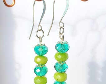 Peridot earrings, Green earrings, Boho earrings, Dangle earrings, Natural stone earrings, Swarvovski crystal earrings