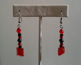 Black and red beaded earrings