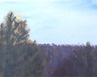 Plein Air Landscape Acrylic Painting, Original Art, Masonite Panel, 11 1/2 x 9