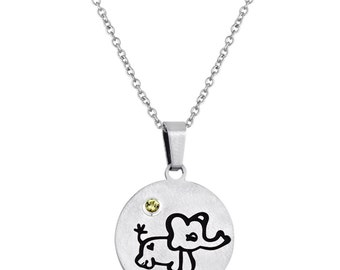 Elephant Disc Pendant With Personalized Birthstone