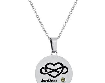 Endless Love Disc Pendant With Personalized Birthstone