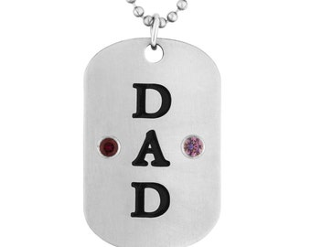 Dad Dog Tag Pendant With 2 Personalized Birthstones In Stainless Steel