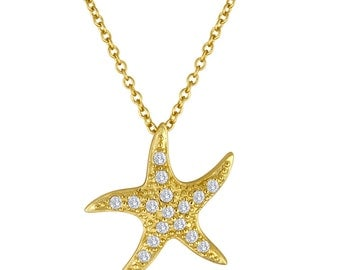 Rhinestone Starfish Necklace, Pave Starfish Pendant, Gold Starfish with Cubic Zirconia Stones, Ocean Jewelry, Beach Wedding Necklace for Her