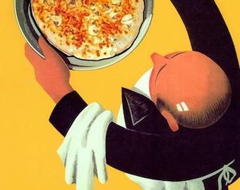 Food Pizza Waiter Restaurant Bar Italian Kitchen Art Vintage Poster Repro FREE SHIPPING in USA