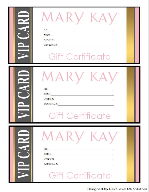 Mary Kay Gift Certificate Download Gold VIP Style