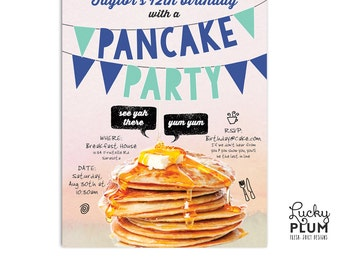 Pancakes Birthday Invite / Breakfast Party Invite / Pancakes and Pajamas Invite / Pancakes and PJs Invite / Brunch Invite / Digital File