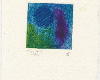 Tiny collagraph 2015 series #3 blue green violet affordable original art