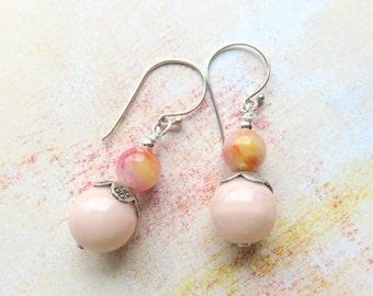 Jade Gemstone Dangle Earrings - Peach and Pink Boho Earrings - Jade and Silver Drop Earrings