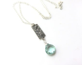 Aqua Gemstone Pendant Necklace - Wire Wrapped Quartz Pendant - Sterling Silver Floral Necklace -  Silver and Blue Pendant on Sterling Chain