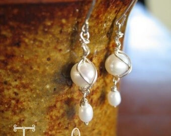 Sterling Silver white fresh water pearls, Tangled pearl earrings, wire wrap, bridal jewelry, bridesmaid jewelry