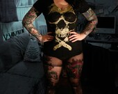 heavy metal clothing, plus skull top, t-shirt gold skull, black skull t shirt, women's S-XXL