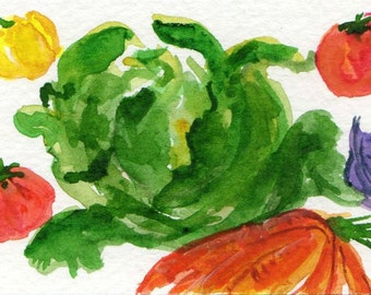 ACEO Original Salad Watercolors painting,  Leafy green lettuce, tossed salad art card,  original vegetables watercolor painting