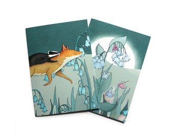 Fox Badger Greetings cards - set of two - Foxley wood - swimming in the bluebell woods