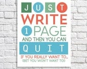 Just Write One Page Writing Quote Writer's Block Print For Procrastinating Authors Writing Wall Art Writers Poster Writing Inspiration Gift