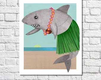Hula Girl Shark Art Hawaii Travel Poster Shark Themed Kids Ocean Bathroom Travel Nursery Print Beach House Decor Shark Picture Luau Decor