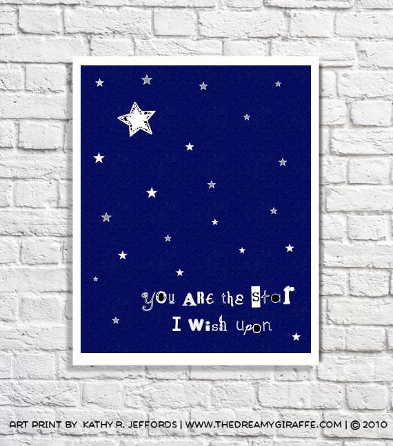 Star Nursery Decor Star Quote Navy Blue Nursery Art Baby Boy Wall Decor Baby Girl Room Gender Neutral Nursery Celestial Print Constellations