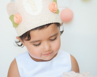 Girl First BIRTHDAY CROWN - LACE Shabby Chic pink & gold Flowers