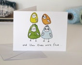 Small Greeting Card: Then There Was Four [Baby Card]