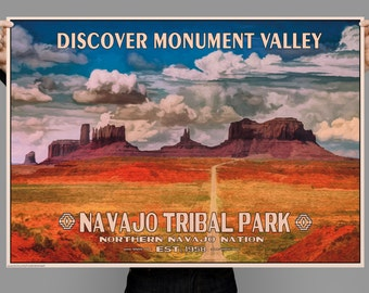 Monument Valley,Navajo Tribal Park, Mystery Valley, Vintage style Poster, Typography, Original Painting, Digital Download Print or Poster