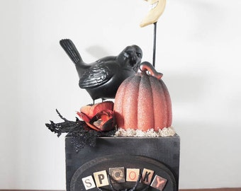 Halloween Moon and Crow Arrangement , Original and One of a Kind , Found Object Sculpture Halloween Decor