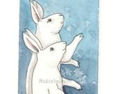 Original Watercolor Rabbit Painting - New Stars - ACEO