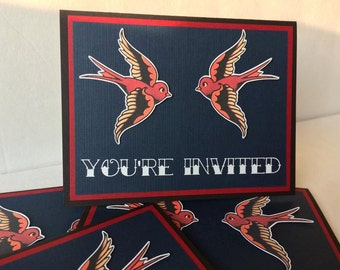 10 Pack Sailor Jerry sparrows party invitations