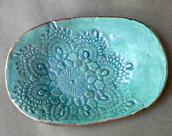 Ceramic Lace Trinket Dish Pale Sea Green  edged in gold