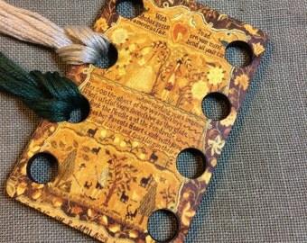 Rebekah Munro sampler embroidery thread organizer wooden thread keep for antique sampler lovers