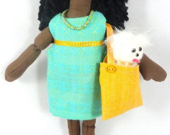 African American Girl Doll With Dog In Purse