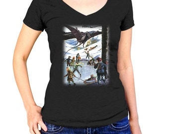 Ice Skating with Pterodactyls T-Shirt - Funny Dinosaur TShirt - Mens and Ladies Sizes Small-3X