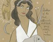 Artemis Greek Goddess of the Hunt print by Amanda Laurel Atkins
