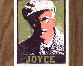 Linocut Handpulled Print - James Joyce