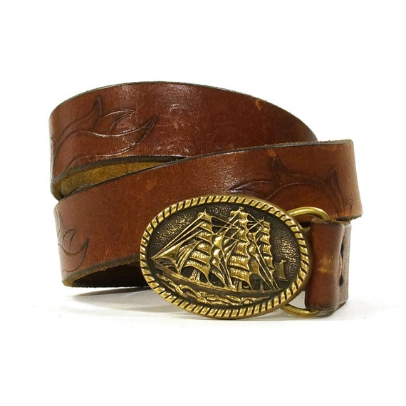 tooled leather belt with pirate ship buckle by spunkvintage