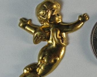 2 Brass Angels / Cherubs Looking Right Stampings / Findings