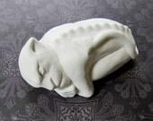 Brutus - Gargoyle - Unpainted - white - cement cast - gargoyle sculpture - figurine - creature sculpt - hydrocal - stone - gypsum - horror