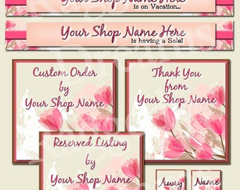 Premade Etsy Banner Set - Etsy Shop Banner - SHOP ICON - Shop Profile Photo - Pink And Brown Floral Tulips - Raggedy Dreams Etsy Shop Design