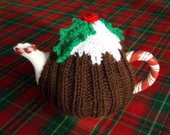 teapot  tea cozy cosy cover Christmas pudding with holly leaves and berry, hand knitted