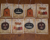 8 Primitive Hang Tags Gift Ties - Halloween - Pumpkin - Happy Fall- Jack O Lanterns - Ornies - Decorate - Dollies - Critters -