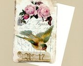 Note Cards , Vintage Bird and Roses Blank Flat Cards , Card Set , Note Cards Set of Four