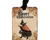 Witch Tags , Vintage Halloween , Happy Halloween , Vintage Witch , Orange and Black , Treat Bag Tags , Party Favors
