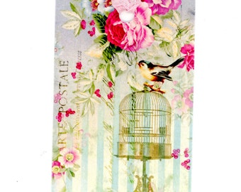 Bird Gift Tags , Bird Cage , Aqua and Pink , Party Favors , Shower Tags , Package Embellishment , Garden Theme , Gift Bag Tags